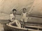 Annunciata Scotti con il papà in gita in barca.