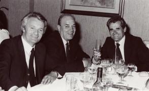 Carlo Cominelli a cena con i colleghi.