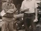 Valentino Macario con un collega al parco barre.