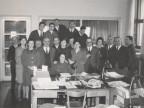 Giovanni Suardi con alcuni colleghi dell'Ufficio del Gruppo produzione.