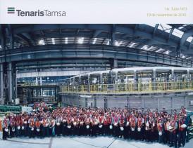 Foto di gruppo dopo la produzione del primo tubo del laminatoio FAT3.